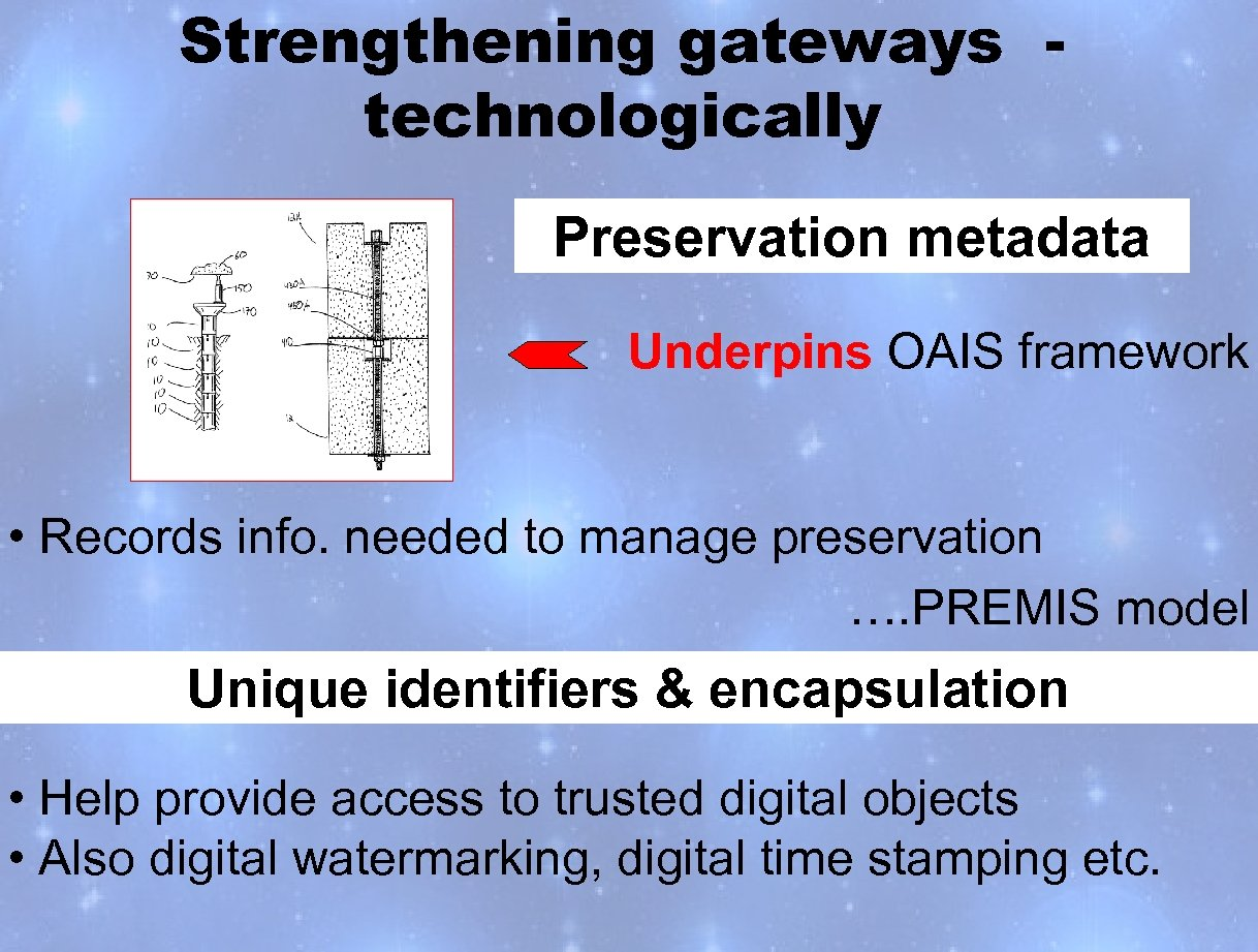 Strengthening gateways technologically Preservation metadata Underpins OAIS framework • Records info. needed to manage