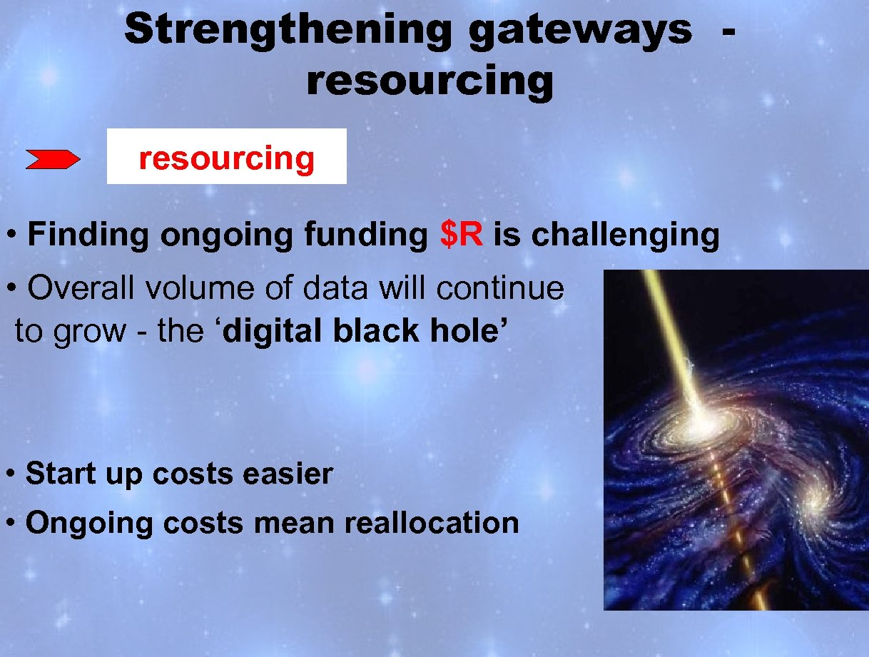 Strengthening gateways resourcing • Finding ongoing funding $R is challenging • Overall volume of