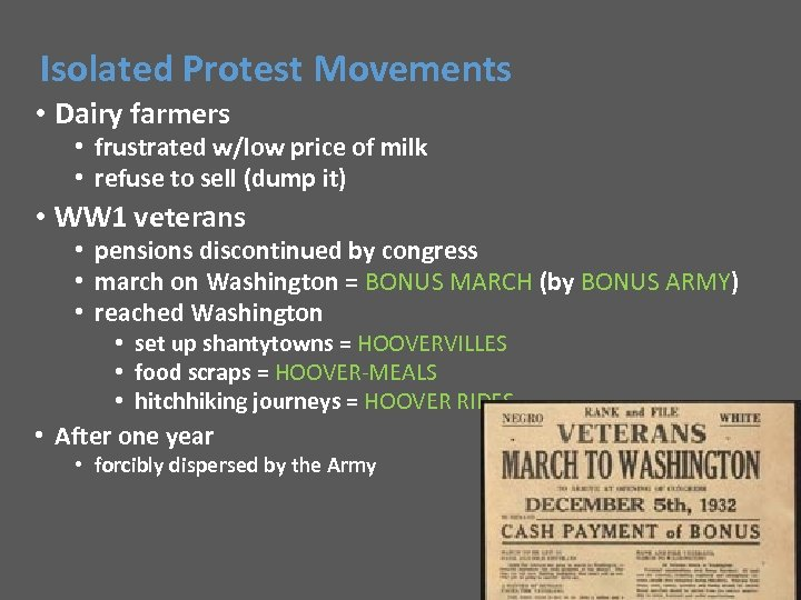 Isolated Protest Movements • Dairy farmers • frustrated w/low price of milk • refuse