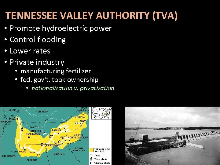 TENNESSEE VALLEY AUTHORITY (TVA) • Promote hydroelectric power • Control flooding • Lower rates