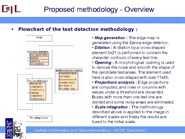 Proposed methodology - Overview § Flowchart of the text detection methodology : • Map