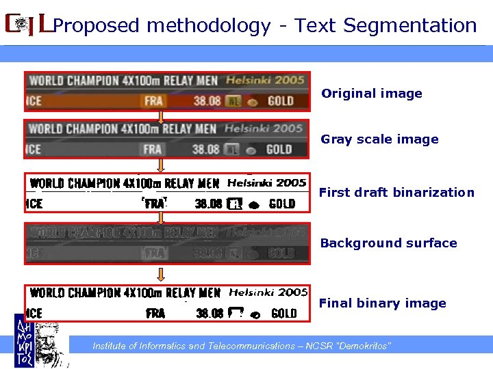 Proposed methodology - Text Segmentation Original image Gray scale image First draft binarization Background