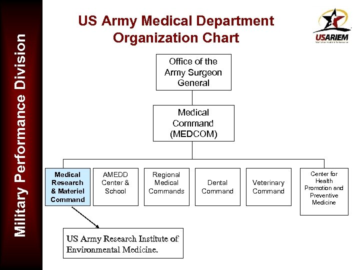 Military Performance Division US Army Medical Department Organization Chart Office of the Army Surgeon