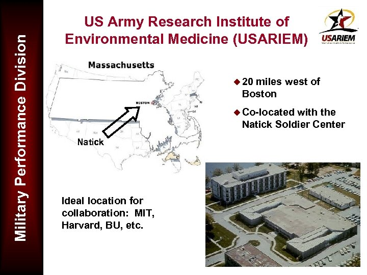 Military Performance Division US Army Research Institute of Environmental Medicine (USARIEM) u 20 miles
