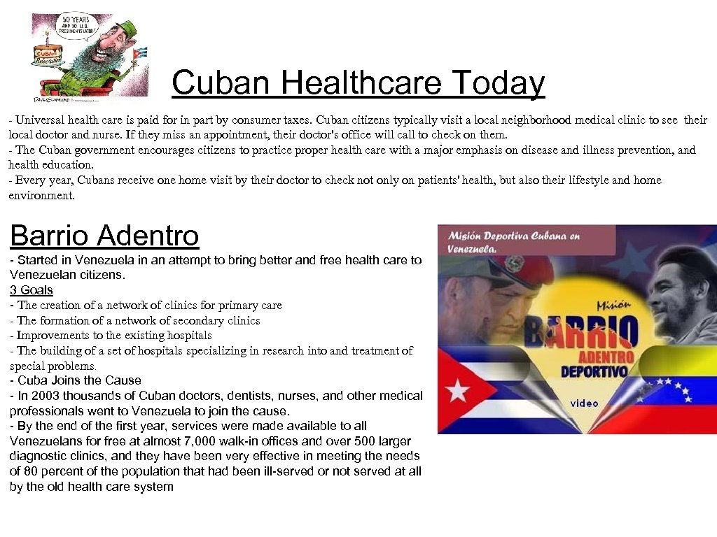 Cuban Healthcare Today - Universal health care is paid for in part by consumer