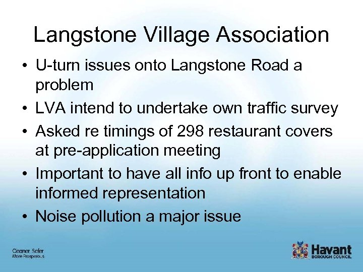 Langstone Village Association • U-turn issues onto Langstone Road a problem • LVA intend
