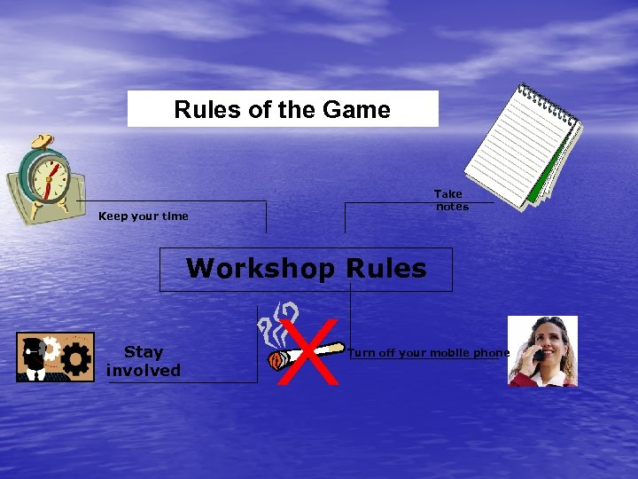 Rules of the Game Take notes Keep your time Workshop Rules Stay involved Turn