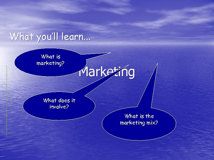 What you'll learn. . . What is marketing? Marketing What does it involve? What