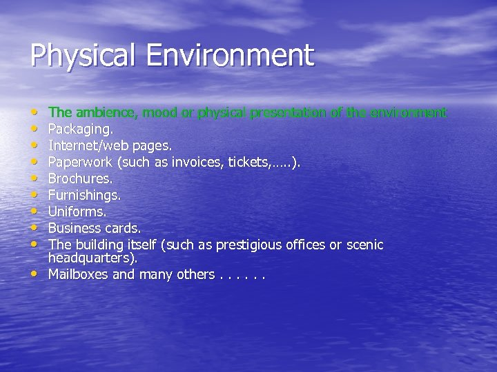 Physical Environment • • • The ambience, mood or physical presentation of the environment