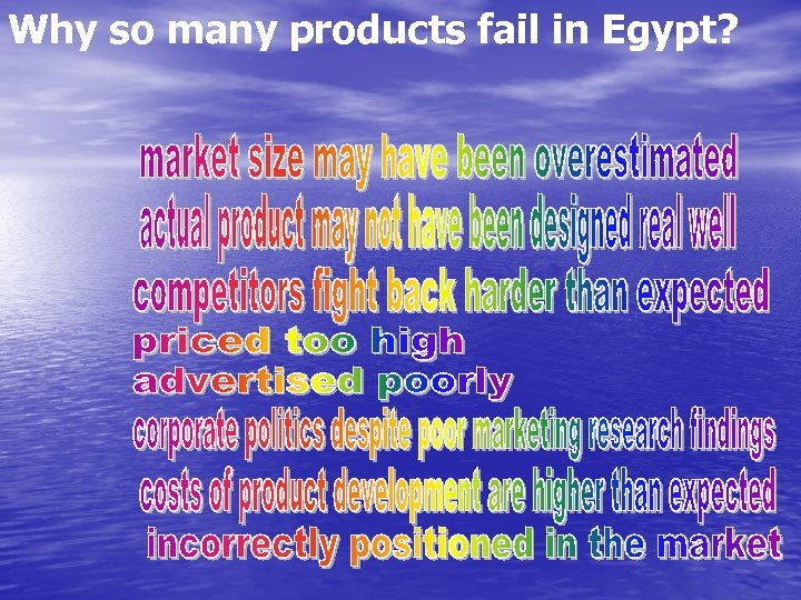 Why so many products fail in Egypt?