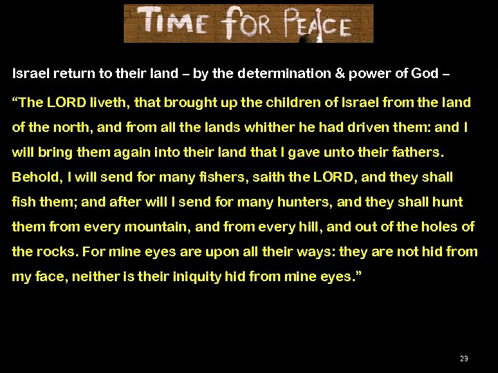 Israel return to their land – by the determination & power of God –