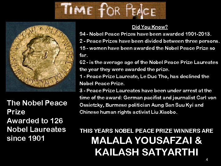 The Nobel Peace Prize Awarded to 126 Nobel Laureates since 1901 Did You Know?