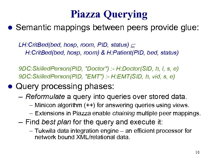 Piazza Querying l Semantic mappings between peers provide glue: LH: Crit. Bed(bed, hosp, room,