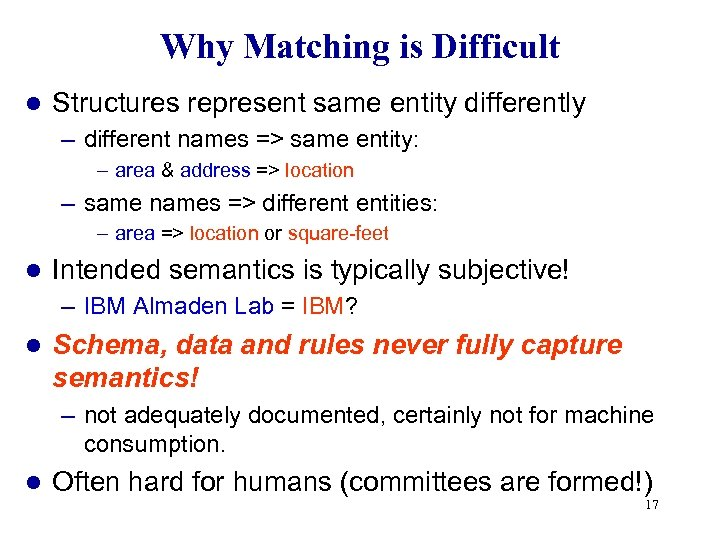 Why Matching is Difficult l Structures represent same entity differently – different names =>