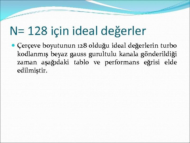 N= 128 için ideal değerler Çerçeve boyutunun 128 olduğu ideal değerlerin turbo kodlanmış beyaz