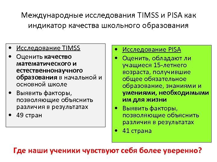 Международные исследования TIMSS и PISA как индикатор качества школьного образования • Исследование TIMSS •