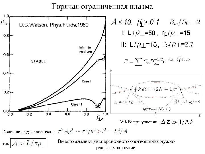 Горячая ограниченная плазма WKB: при условии Условие нарушается если т. е. Вместо анализа дисперсионного