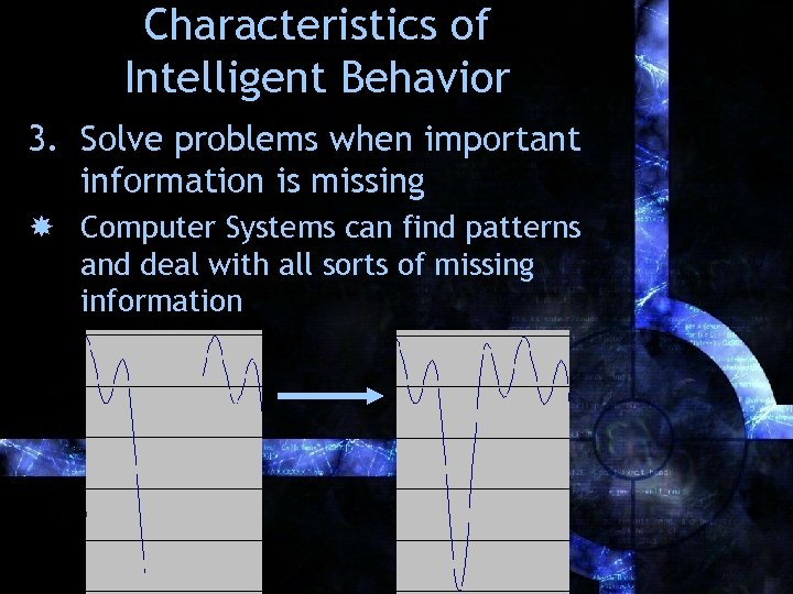 Characteristics of Intelligent Behavior 3. Solve problems when important information is missing Computer Systems