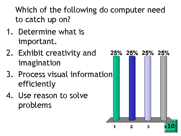 Which of the following do computer need to catch up on? 1. Determine what