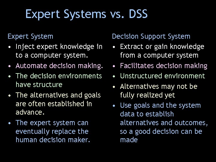 Expert Systems vs. DSS Expert System • Inject expert knowledge in to a computer
