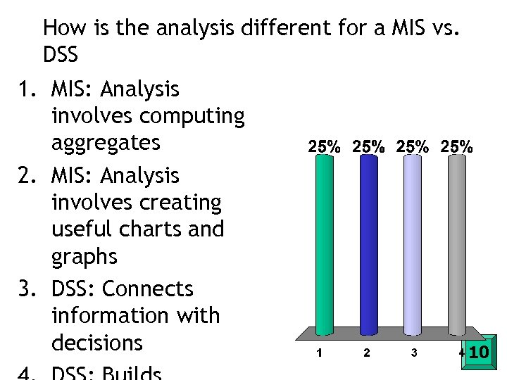 How is the analysis different for a MIS vs. DSS 1. MIS: Analysis involves
