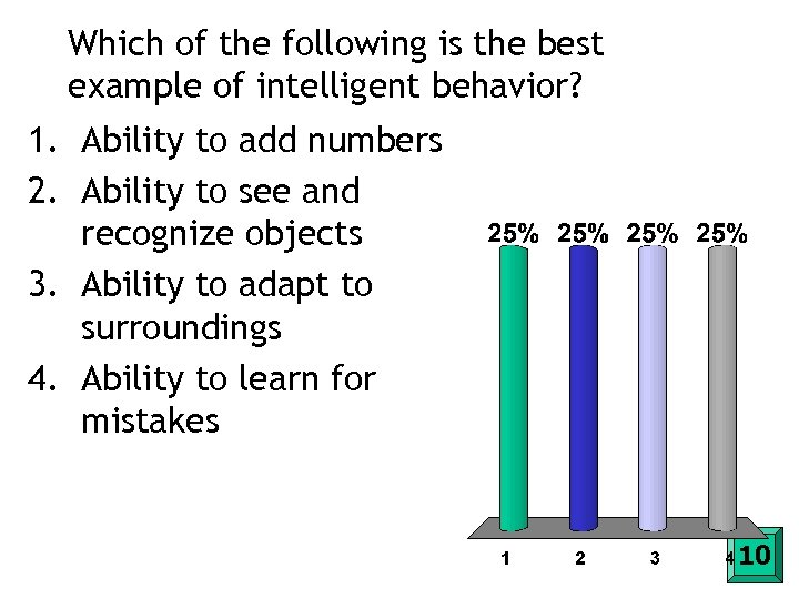 Which of the following is the best example of intelligent behavior? 1. Ability to