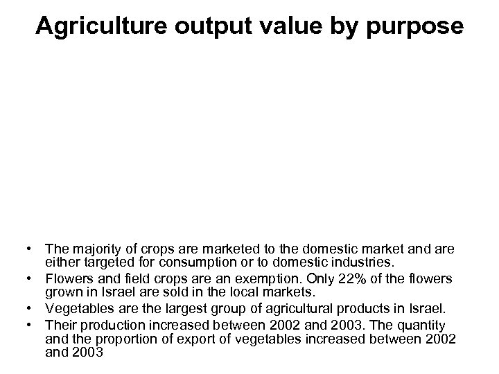 Agriculture output value by purpose • The majority of crops are marketed to the