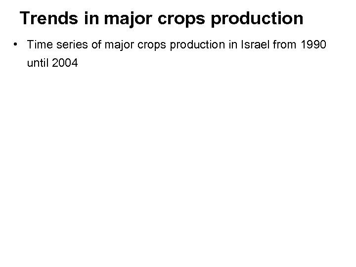 Trends in major crops production • Time series of major crops production in Israel