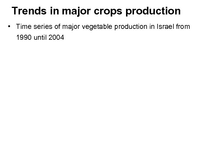 Trends in major crops production • Time series of major vegetable production in Israel