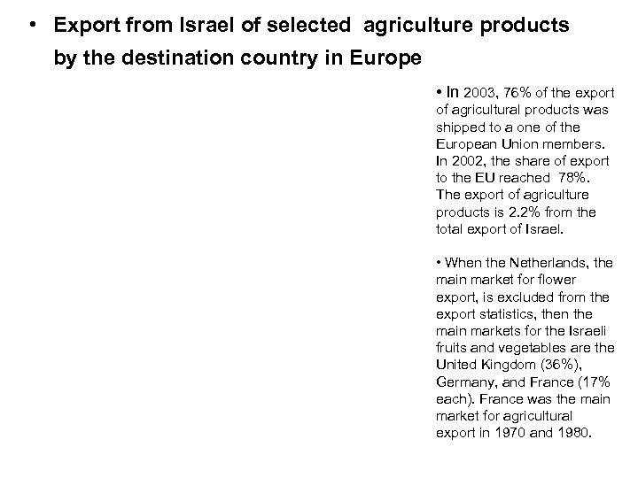 • Export from Israel of selected agriculture products by the destination country in