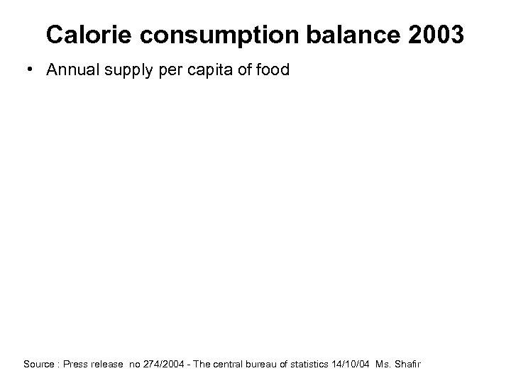 Calorie consumption balance 2003 • Annual supply per capita of food Source : Press