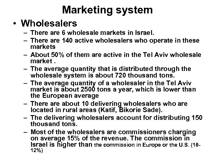Marketing system • Wholesalers – There are 6 wholesale markets in Israel. – There