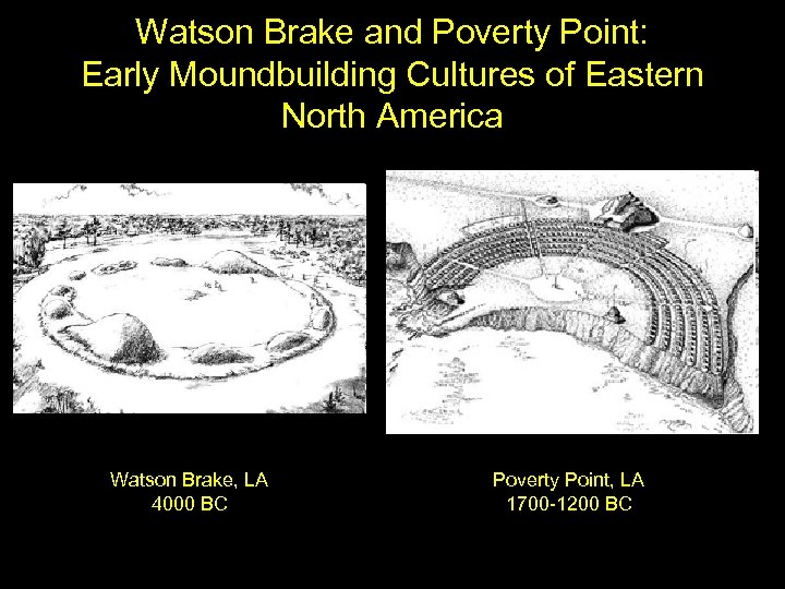 Watson Brake and Poverty Point: Early Moundbuilding Cultures of Eastern North America Watson Brake,