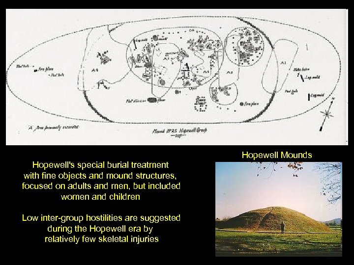 Hopewell Mounds Hopewell's special burial treatment with fine objects and mound structures, focused on