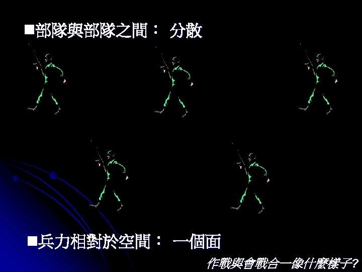 n部隊與部隊之間: 分散 n兵力相對於空間: 一個面 作戰與會戰合一像什麼樣子?