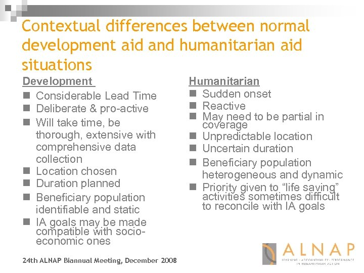 Contextual differences between normal development aid and humanitarian aid situations Development n Considerable Lead