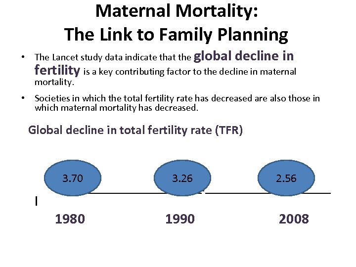 Maternal Mortality: The Link to Family Planning • The Lancet study data indicate that