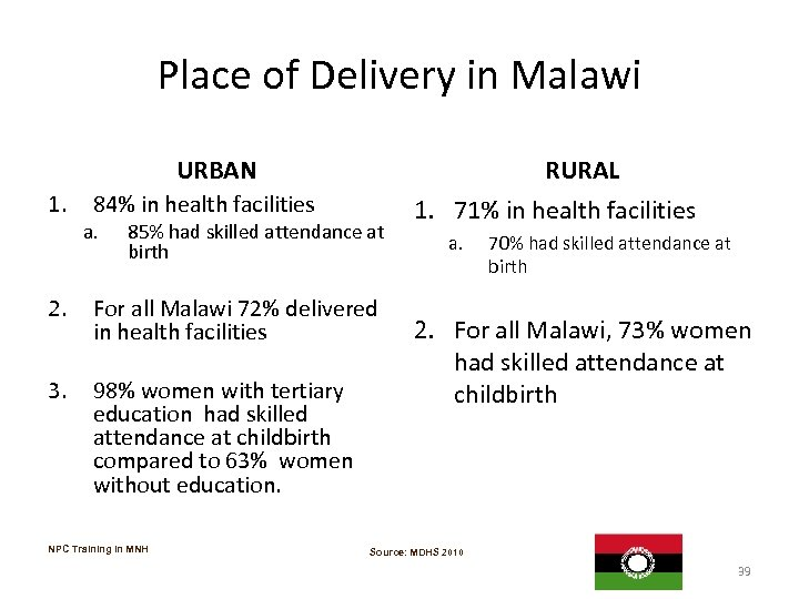 Place of Delivery in Malawi URBAN 1. RURAL 84% in health facilities a. 85%