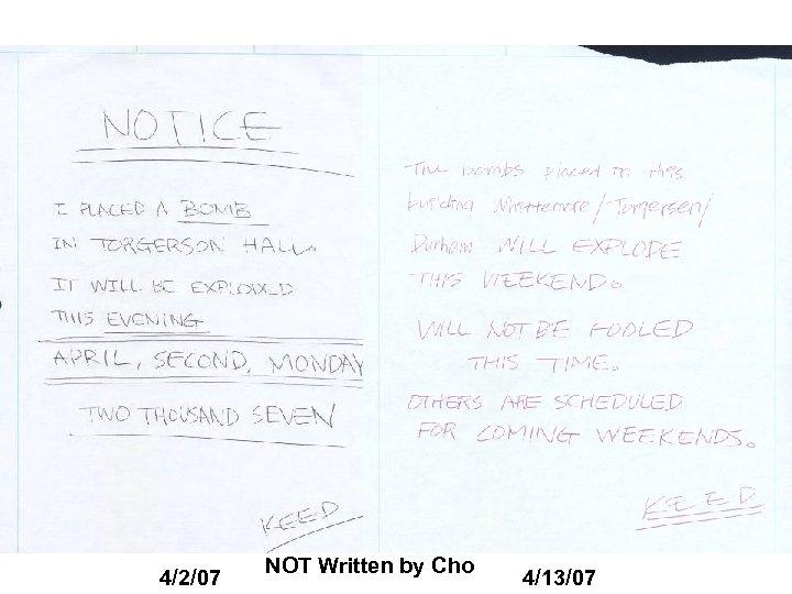 4/2/07 NOT Written by Cho 4/13/07
