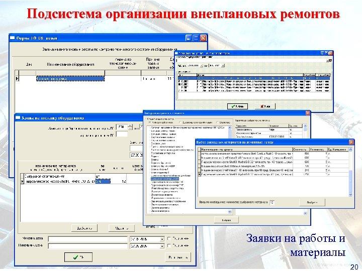 Подсистема организации внеплановых ремонтов Заявки на работы и материалы 20