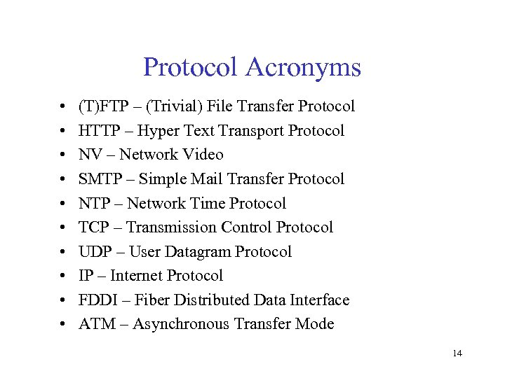 Protocol Acronyms • • • (T)FTP – (Trivial) File Transfer Protocol HTTP – Hyper
