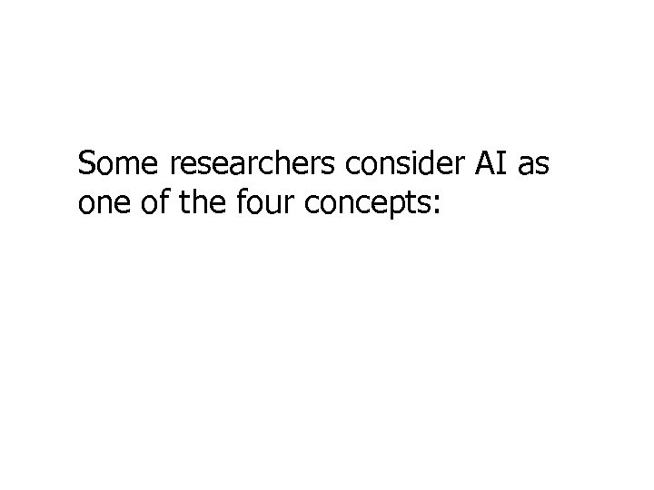 Some researchers consider AI as one of the four concepts: