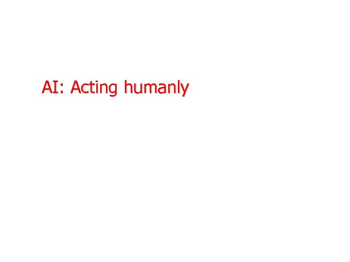 AI: Acting humanly