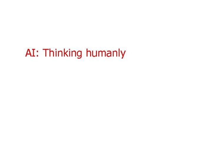AI: Thinking humanly