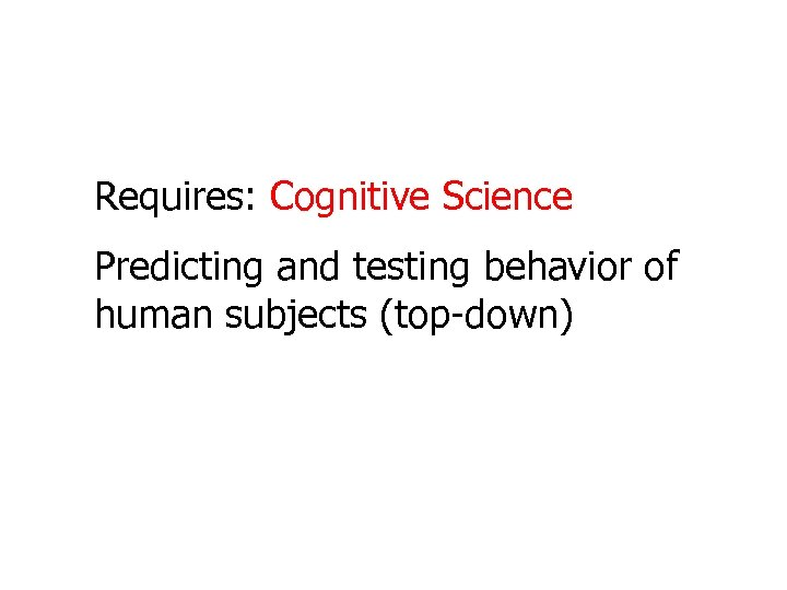 Requires: Cognitive Science Predicting and testing behavior of human subjects (top-down)