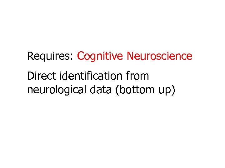 Requires: Cognitive Neuroscience Direct identification from neurological data (bottom up)