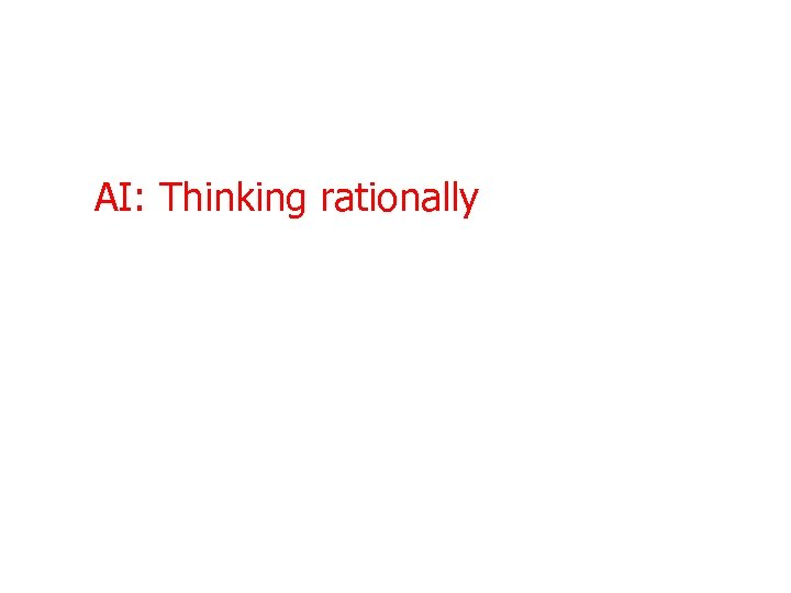 AI: Thinking rationally