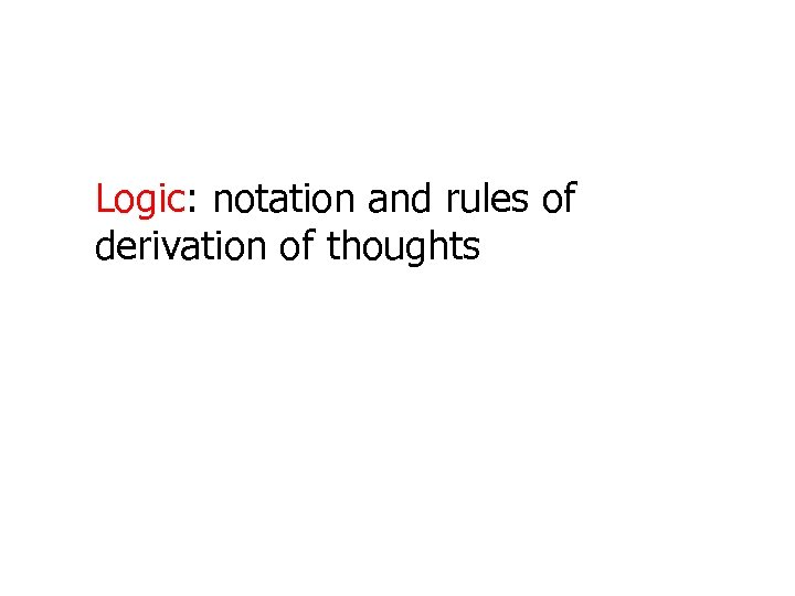 Logic: notation and rules of derivation of thoughts