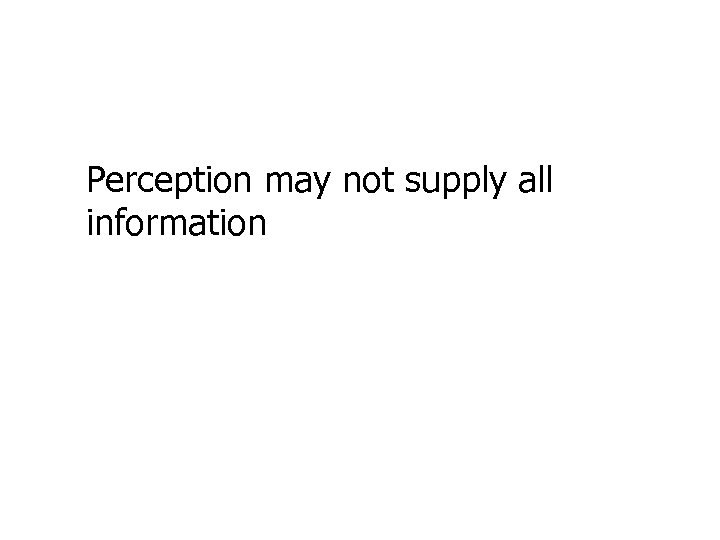 Perception may not supply all information