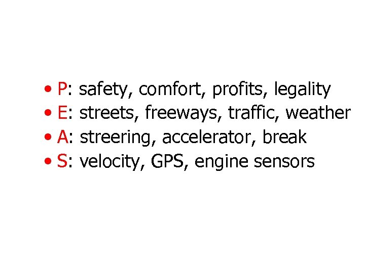 • P: safety, comfort, profits, legality • E: streets, freeways, traffic, weather •